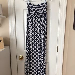 Hourglass Lilly Navy/White Maxi Dress - XS